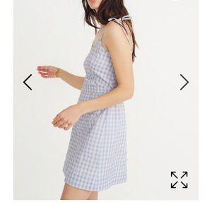 Madewell blue gingham tie strap dress never worn